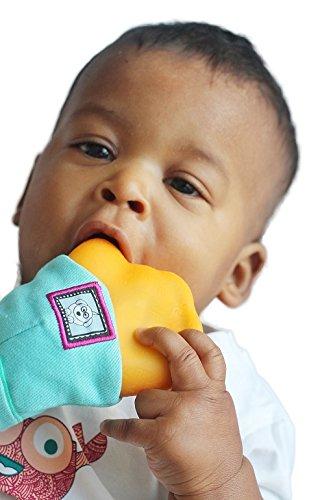 Yummy Mitt Teething Mitten- (Glow in the Dark) - Blue & Orange -(3-12 months baby mitten)- No More Dropping Teether!