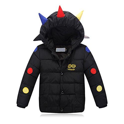 ZhiDa Children Boys Girls Tyrannosaurus Dinosaur Winter Down Jacket Coat Hooded Feather Coats (S, Black)