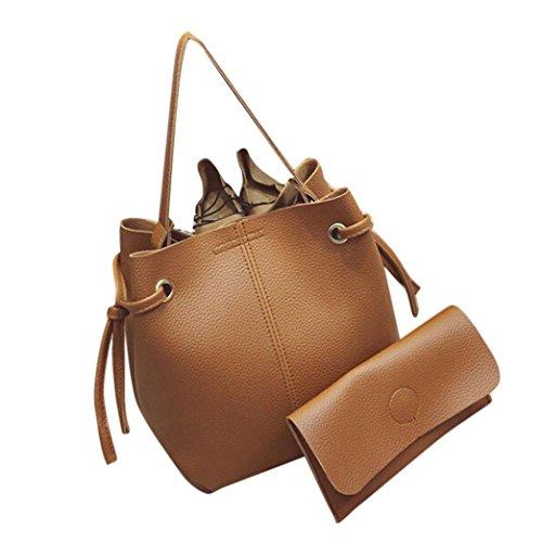 Women's Handbag,Laimeng Women Leather Handbag Tote Purse Cross Body Messenger Shoulder Bag+Clutch Bag (Brown)
