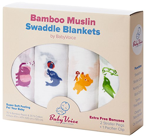 Swaddle Blanket (Premium Bamboo Muslin) 4 Pack + 4 Bonuses: Stroller Clips, Pacifier Clip & Baby Sleeping Guide By BabyVoice