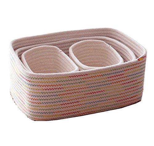 SpaceMaster Cotton Rope Storage Baskets, Nursery Bins,Closet Organization, Toy Storage,Laundry Hamper, SET of 4, Soft Durable