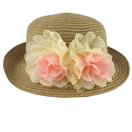 Summer Fashion Baby Girl Half a Flanging Straw Hat Beach Sun Cap with Two Flowers