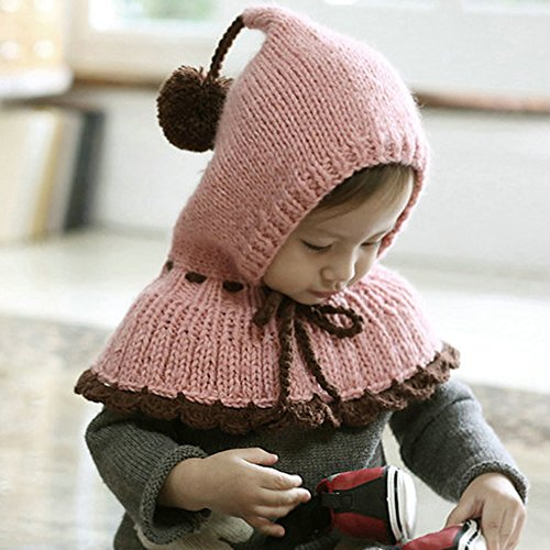 Bluestar Baby Cute Knit Hats for Fall Winter, Baby Thick Warm Neck Head Hats Caps (Pink)