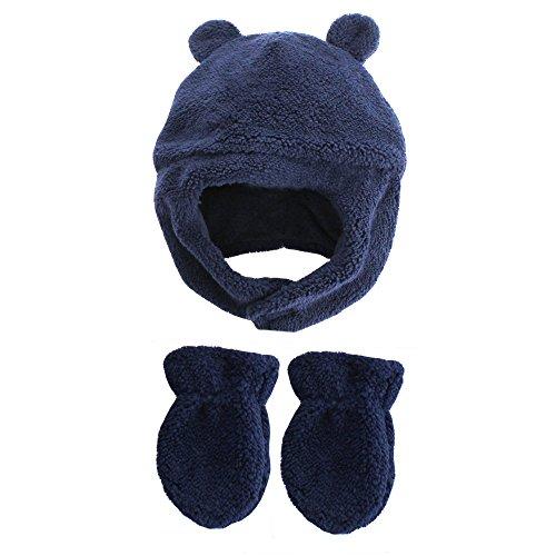 Little Me Unisex Fleece Winter Hat Chin Strap and Mitten Set Navy Blue 12-24M