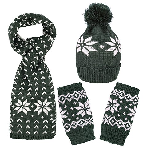 Simplicity Kid's Knited Scarf Set w/Matching Fingerless Gloves Beanie Snowflakes