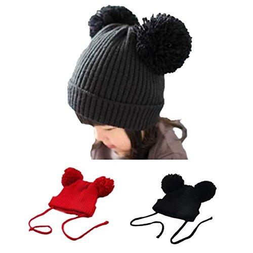 Baby Woolen Caps, Misaky Cute Winter Kids Girls Boys Warm Hats (Red)