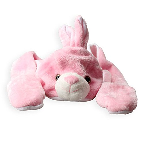 Vktech Hats Scarf Gloves 3 in 1 with Ears Cartoon Animal Design (Pink Bunny)