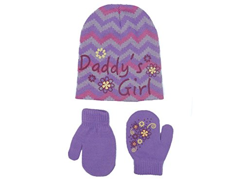 Zallies Toddler Girls Gripper Set including Beanie Hat and Easy Mittens with Fun Prints,Zigzags Daddy's Girls