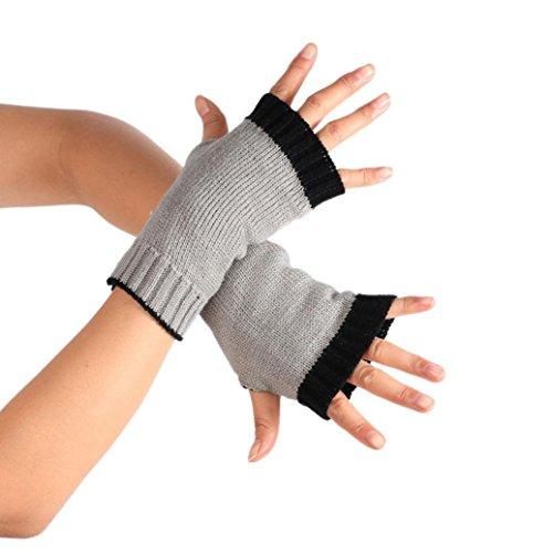 Sunfei Winter Wrist Arm Hand Warmer Knitted Long Fingerless Gloves Mitten (Gray)