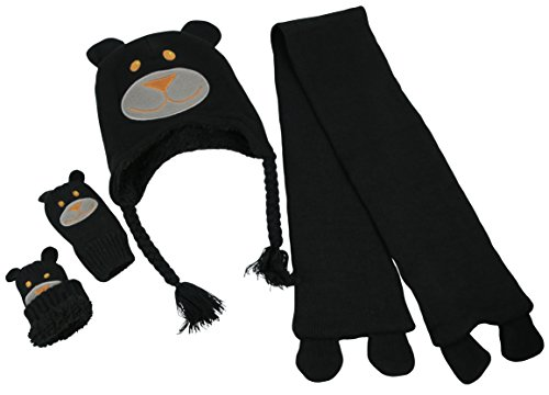N'Ice Caps Little Kids and Infants Cute Animal Face Knitted 3PC Accessory Set (6-18 Months, Dog - Black Infant)