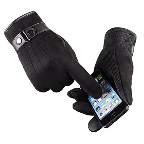 Ikevan Luxurious Mens Touch Screen Smartphone Gloves Warm Thick Faux Suede Full Finger Gloves Mittens Solid Color for Motorcycle Outdoor Driving Sports (Black)