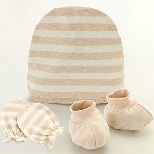 Fairy Baby Organic Cotton Newborn Mittens, Booties And Hat Gift Set,Stripe