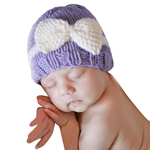 Baby Knitting Hat, Malltop Newborn Infant Soft Knit Wool Crochet Bow-knot caps For 0-1Y (Purple)