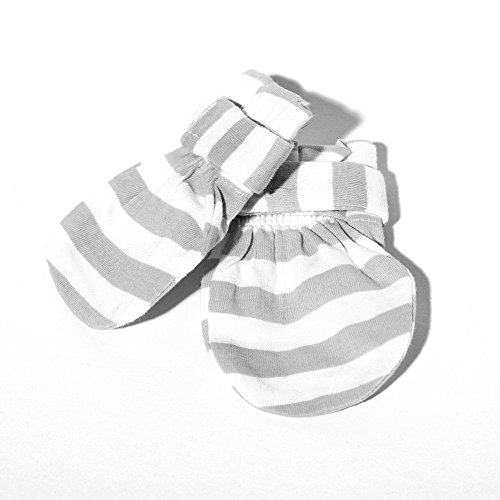 Baby Mittens (Gray) - 100% Cotton Mittens, Stop all unwanted scratches-Unique strap that keeps mittens in place and your precious baby safe GUARANTEED!