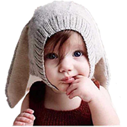 Malltop Baby Rabbit Ear Beanie, Toddler Cute Winter Warm Knitted Crochet Hat