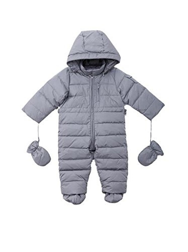 68dfc64ce Oceankids Baby Boys Girls Grey Pram One-Piece Snowsuit Attached Hood ...