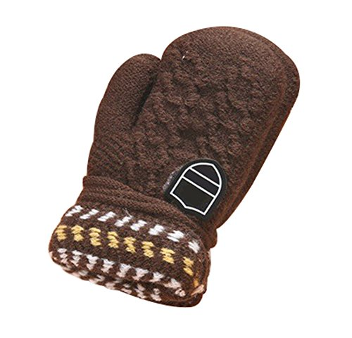 Skyflying Cute Thicken Infant Baby Kids Toddler Winter Warm Gloves (dark coffee)
