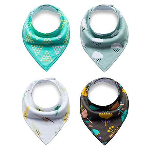 Cideros 4 Pack Baby Bandana Dribble Drool Bibs with Adjustable Snaps for Boys Girls Super Absorbent Cotton for Drooling Burping and Teething