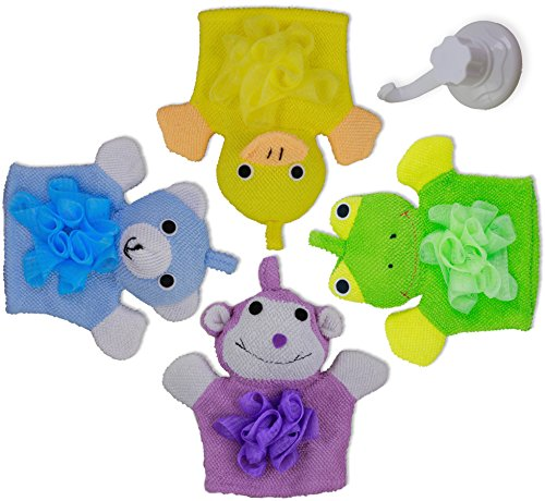 Kids Bath Mitt 4 Pack Toys with Hanging Hook - Loofah Chested Frog, Duck, Monkey, & Bear Make Bath Time Fun & Easy - Dry Quickly with Included Suction Mount Hanging Hook