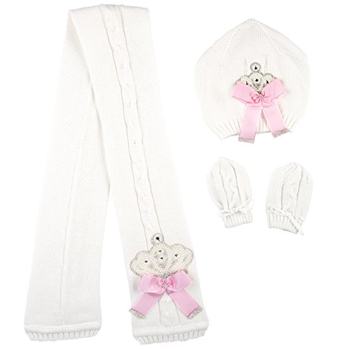 Lilax Baby Girl Newborn Jeweled Knit Hat, Scarf and Mitten Set 0-3 Months Pink