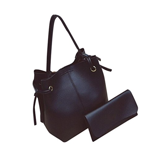 Women's Handbag,Laimeng Women Leather Handbag Tote Purse Cross Body Messenger Shoulder Bag+Clutch Bag (Black)