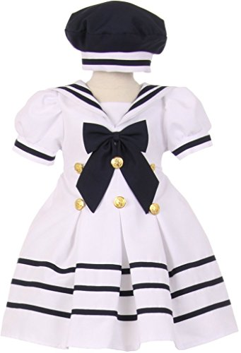 Baby & Infant Pleated Sailor Hat Dress with Striped Gold Button White 12M 10.05