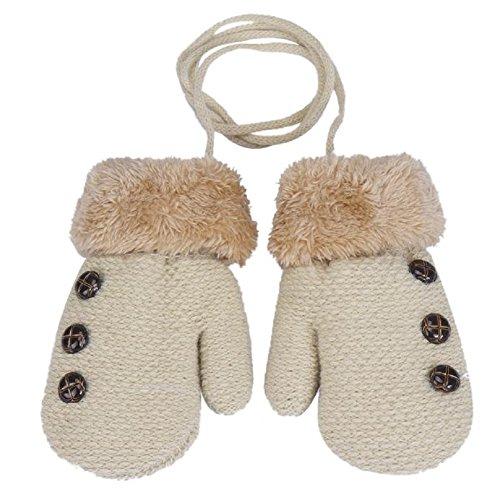 Amiley Baby Kids Boy Girl Button Decor Winter Warm Mittens Gloves with String (Beige)
