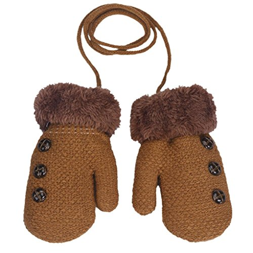 Amiley Baby Kids Boy Girl Button Decor Winter Warm Mittens Gloves with String (Khaki)