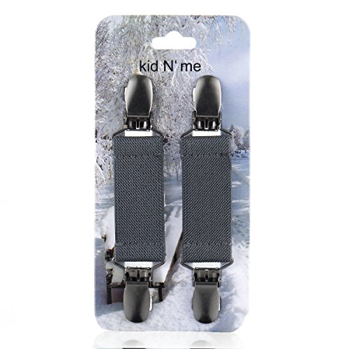 Kid n' Me Mitten Clips – Stainless Steel and Flexible Elastic Glove Accessories – Firm, Reliable Grip Strength – Versatile Keeper