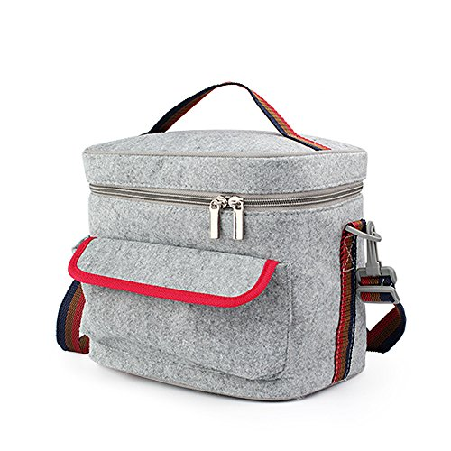 LAMITA-Unique Insulation Lunch Bag Bento Picnic Handbag Thermal Cooler Bag Box for Work, Trip,Picnic, Outdoor Events,8.9 L x 7.7 H Inches in Grey