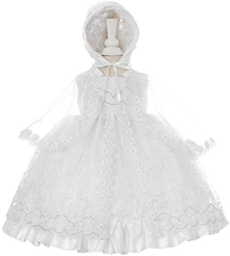 Little Baby Girls Virgin Mary Lace Embroidery Baptism Christening Dresses White 1 (STKH58)