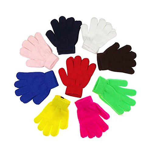 Children Warm Magic Gloves Toddler Winter Gloves Baby Girls Knit Gloves(2 to 6 years old) (Rainbow-Assorted)
