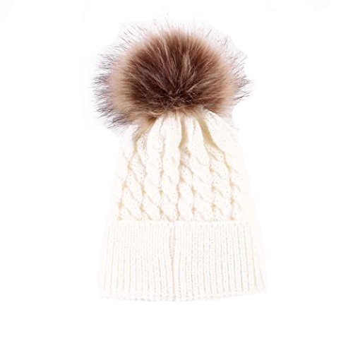 Mikey Store Newborn Cute Winter Kids Baby Hats Knitted Wool Hemming Hat (White)