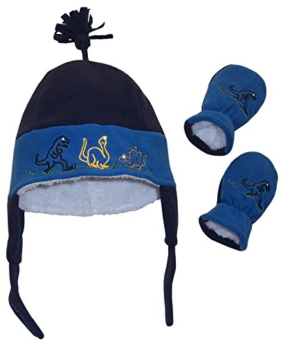 N'Ice Caps Baby And Little Boys Dino Embroidered Sherpa Lined Set (6-18 months, Infant - Navy/Royal)