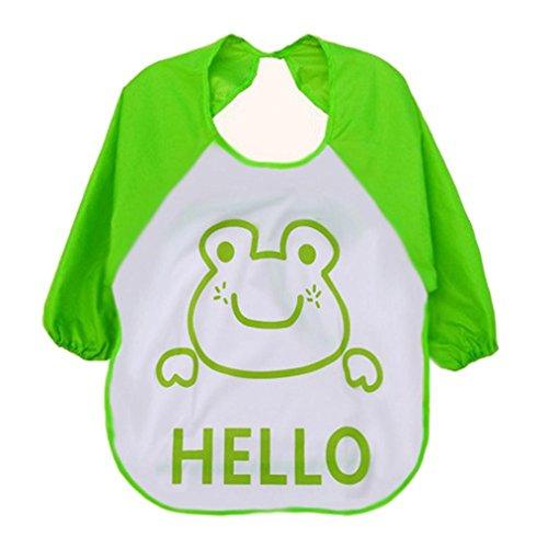 Baby Bibs,Kenvenz Cute Kids Child Baby Cartoon Translucent Plastic Soft Baby Waterproof Bibs (Green)