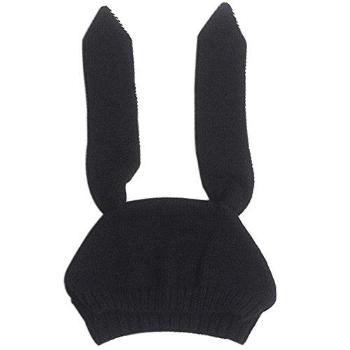 Baby Rabbit Ear Warm Hat, Misaky Toddler Boy Girl Knitted Crochet Beanie Cap (Black)