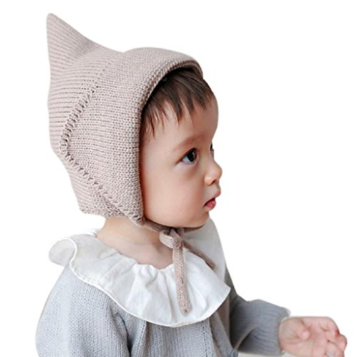 Mikey Store Baby Toddler Boy Girl Cap Knitted Crochet Solid Beanie Winter Warm Cap (Coffee)