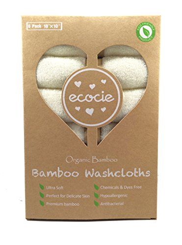 "Ecocie 100% Natural Bamboo Washcloths, Extra Absorbent, Reusable Towel / wipes, Unbleached, Chemicals & Dyes FREE, Just The Right Touch for Sensitive Baby Skin, 6 Pack 10""X10"""