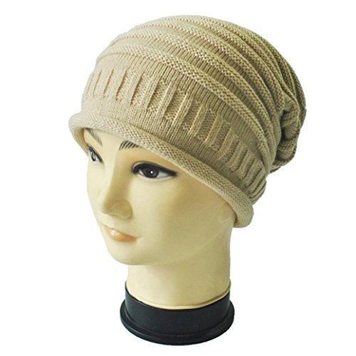 Mikey Store Trendy Chic Knitting Slouchy Baggy Winter Hat Oversize Unisex Hat (Khaki)