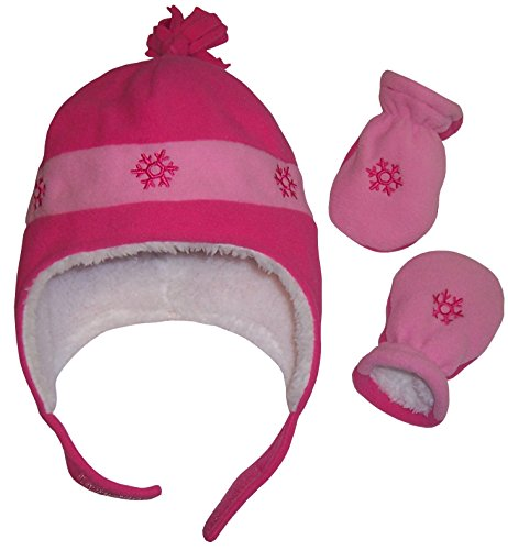 N'Ice Caps Girls Snow Embroidered Sherpa Lined Micro Fleece Hat and Mitten Set (3-6 Months, Infant - Fuchsia/Pink)