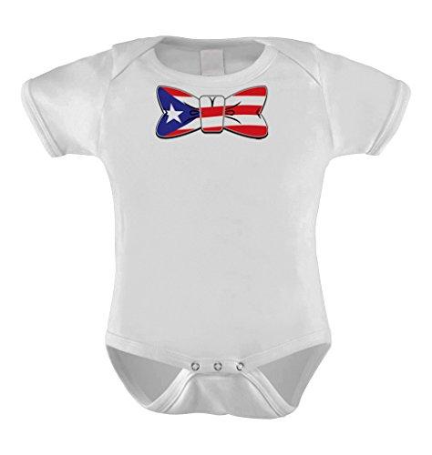 Puerto Rico Flag in Bowtie - Puerto Rican Bodysuit (NEWBORN, WHITE)