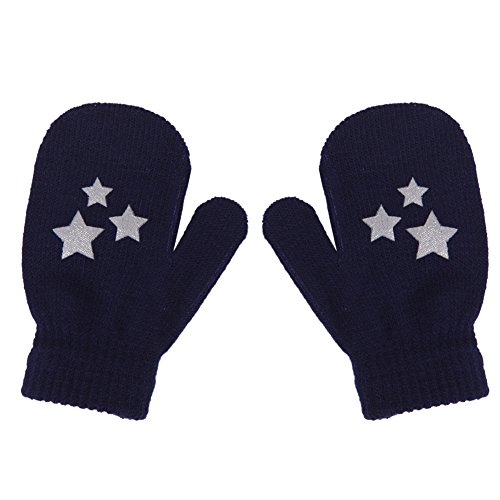 LAYs Kids Girls Boys Knit Mittens Warm Gloves for Christmas Gift Winter Outdoor Walking (Blue Star)