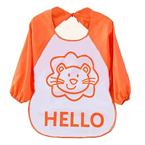 Child Waterproof Bibs, Misaky Cartoon Translucent Plastic Soft Baby Bibs (Free Size, Orange)