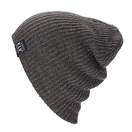 Mikey Store Baggy Warm Crochet Wool Knit Ski Beanie Skull Slouchy Caps Hat (Gray)
