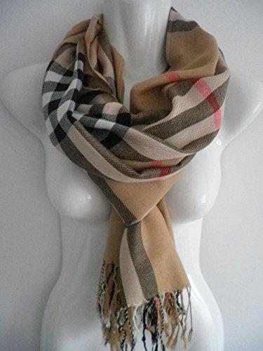Brown_PLAID/CHECK Lady Women Blanket Oversized Tartan Unisex (US Seller)