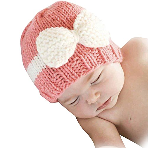 Baby Knitting Hat, Malltop Newborn Infant Soft Knit Wool Crochet Bow-knot caps For 0-1Y (Pink)
