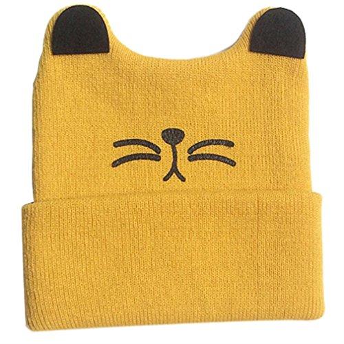 Winhurn Winter Warm Knitted Crochet Cat Ear Beanie Hat Cap for Baby Girl Boy (3 Months - 2 Years, Yellow)