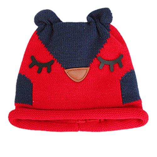 Charberry Cute Baby Kids Girls Boys Winter Warm Woolen Round Caps Hats (Red)