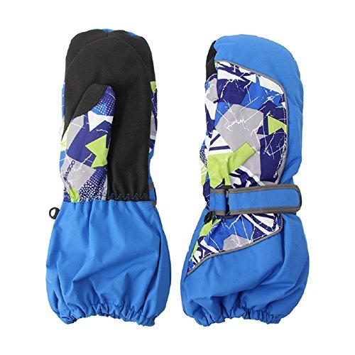 Kocome Children Winter Warm Ski Gloves Boys Girls Outdoor Sports Waterproof (M, Blue)