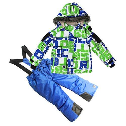COPOZZ Children Snowsuit Kids Clothes Set Waterproof Ski suit Jacket and Pant 2pcs,Blue and green,7T/8T(Height 122/128)